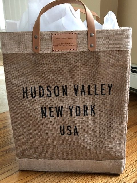 Photo of Ashe Organizing tote bag with Hudson Valley New York USA written on it